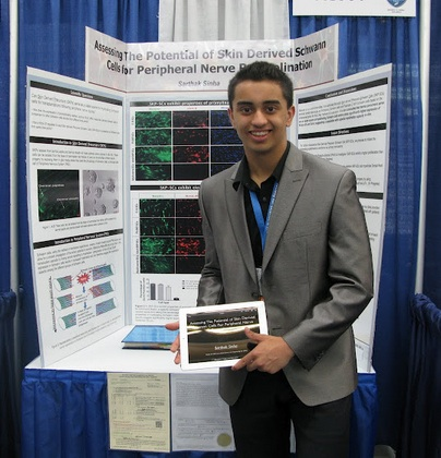 Sarthak at the Intel Science and Engineering Fair! His research won him a third place medal!