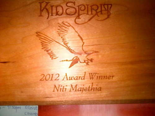 Here is the award Niti received from Kidspirit!
