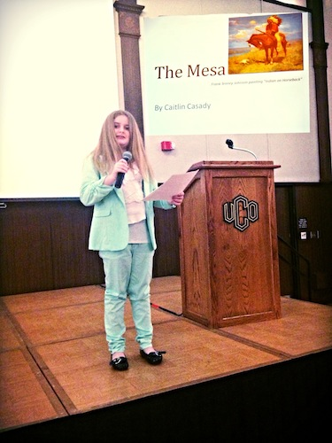 Caitlin reading her short story at the University of Central Oklahoma.