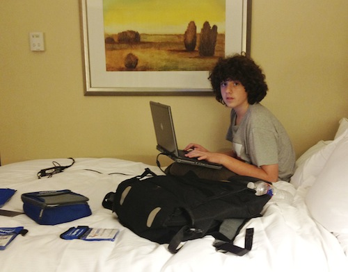 School can happen anywhere, even in a hotel room, while traveling.