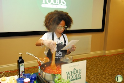 Joshua is partnered with Whole Foods Markets, and does cooking demonstrations to show his recipients how to make healthy meals out of the food they receive.