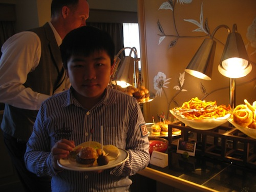 "Perry Chen enjoying ""Free Birds""-themed food at the press junket (photo by Zhu Shen)"