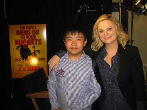 Perry Chen with Amy Poehler at Free Birds press junket (photo by Zhu Shen)