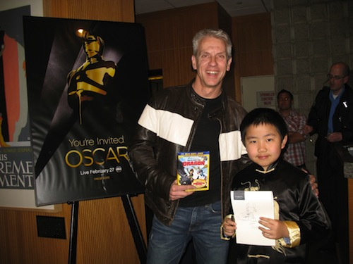 Perry Chen with Chris Sanders, DreamWorks The Croods co-director at the Academy of Motion Pictures in 2012 (photo by Zhu Shen)