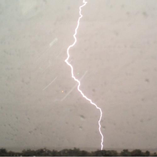 A Lightning Strike I Captured Outside the Car Window