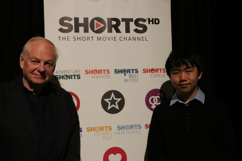 Perry Chen with Richard Williams, Prologue director, at ShortsHD Awards, Feb 27, 2016. (Photo by Zhu Shen.)