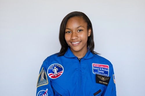 Taylor Richardson poses in her blue astronaut suit for her 2016 Youth in Action headshot.