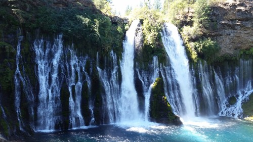 Burney Falls at a little above ground level.